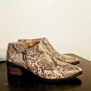 Lucky Brand Koben snake leather zipper booties 8M